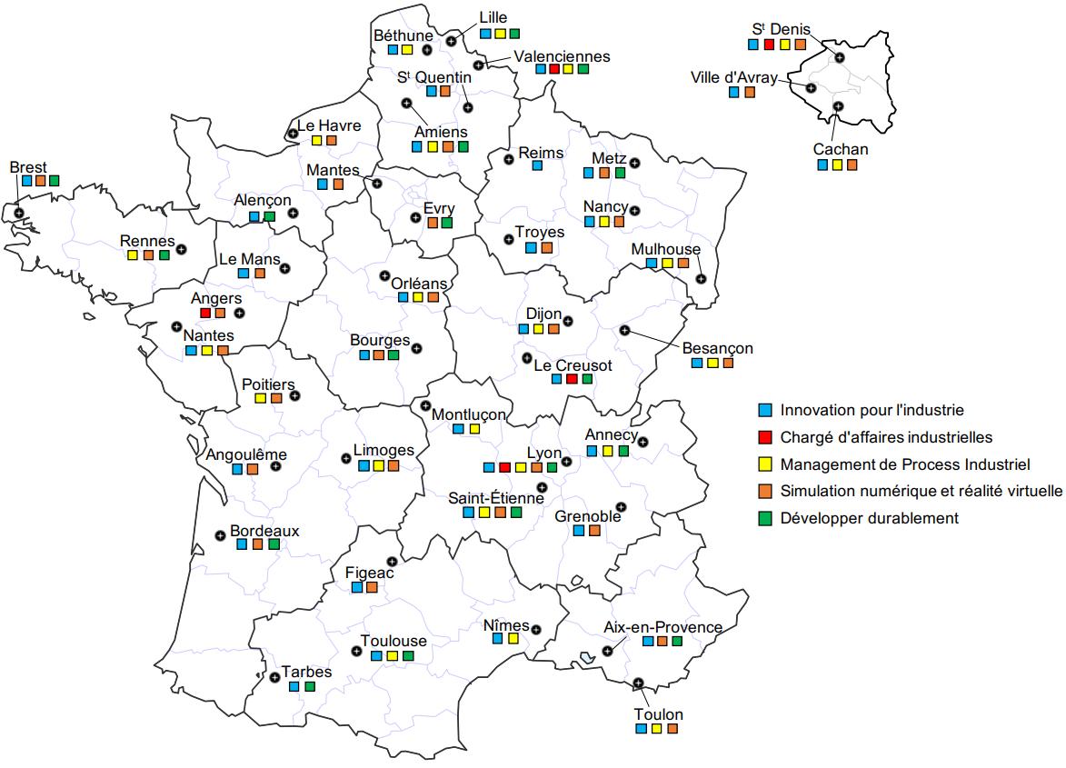 Carte départements GMP spécialités GMP parcours BUT GMP innovation management numérique DD